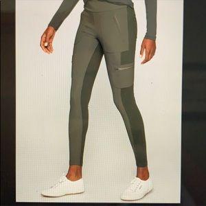 Athleta highline hybrid tights - olive RARE